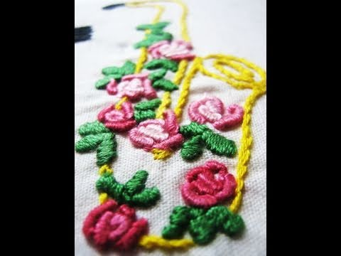 Hand embroidery -Bullion knot stitch (stitch a rose)