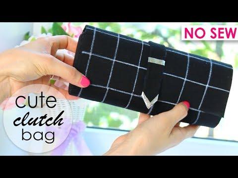 DIY PURSE BAG FAST | Woman Clutch Wallet Idea No Sew Tutorial 2018 thumbnail