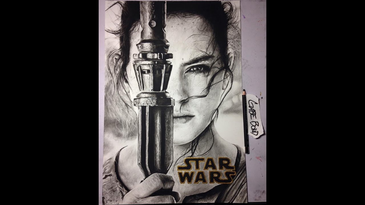 """REALISTIC DRAWING Daisy Ridley as """"Rey"""" in Star Wars: The Force Awakens YouTube"""