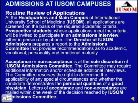 ADMISSIONS AT IUSOM CAMPUSES