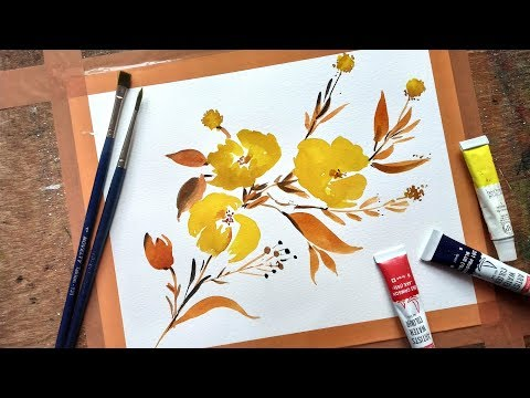 Simple Yellow Flower Painting with Watercolor | Beginners Watercolor