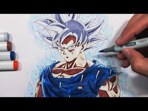 Tutorial how to draw goku 39 s mastered ultra instinct form step by step - Goku ultra instinct sketch ...