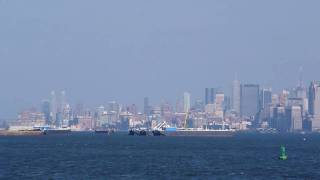 View of Statue of Liberty and Lower Manhattan from Staten Island Ferry HD