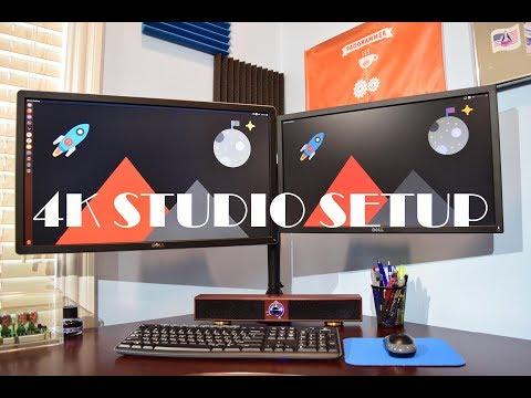 2017 Studio Desk Setup: 4K Monitor, Docking Station, Recording Equipment