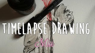 TIMELAPSE DRAWING : Flowers throat (ink)