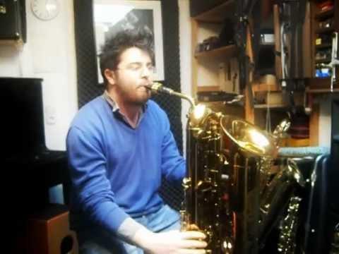 Gabor Bolla tries Tubax Contrabass Sax