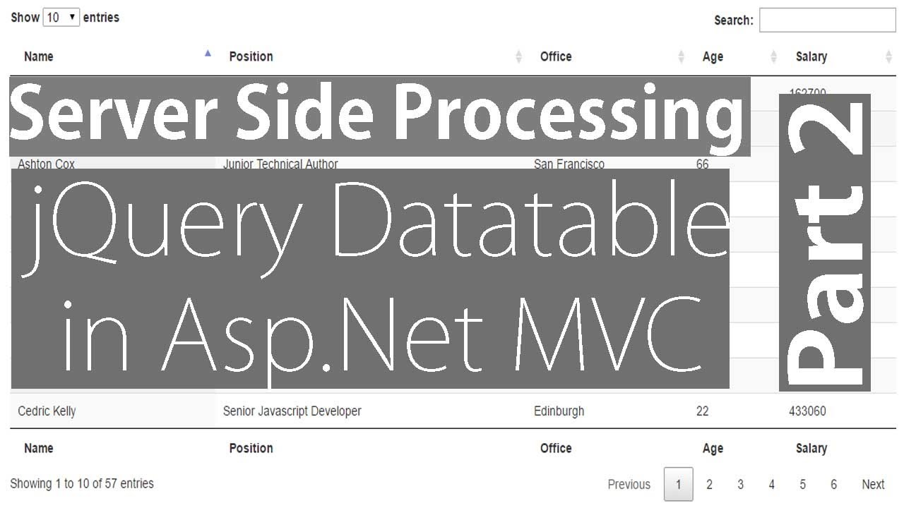 jQuery Datatable Server Side Processing in Asp Net MVC - Part 2