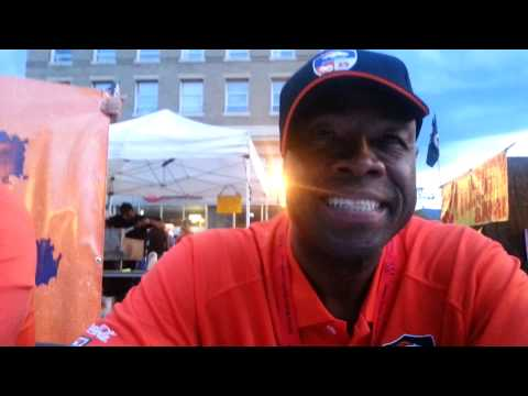 Broncos alumni at downtown festival