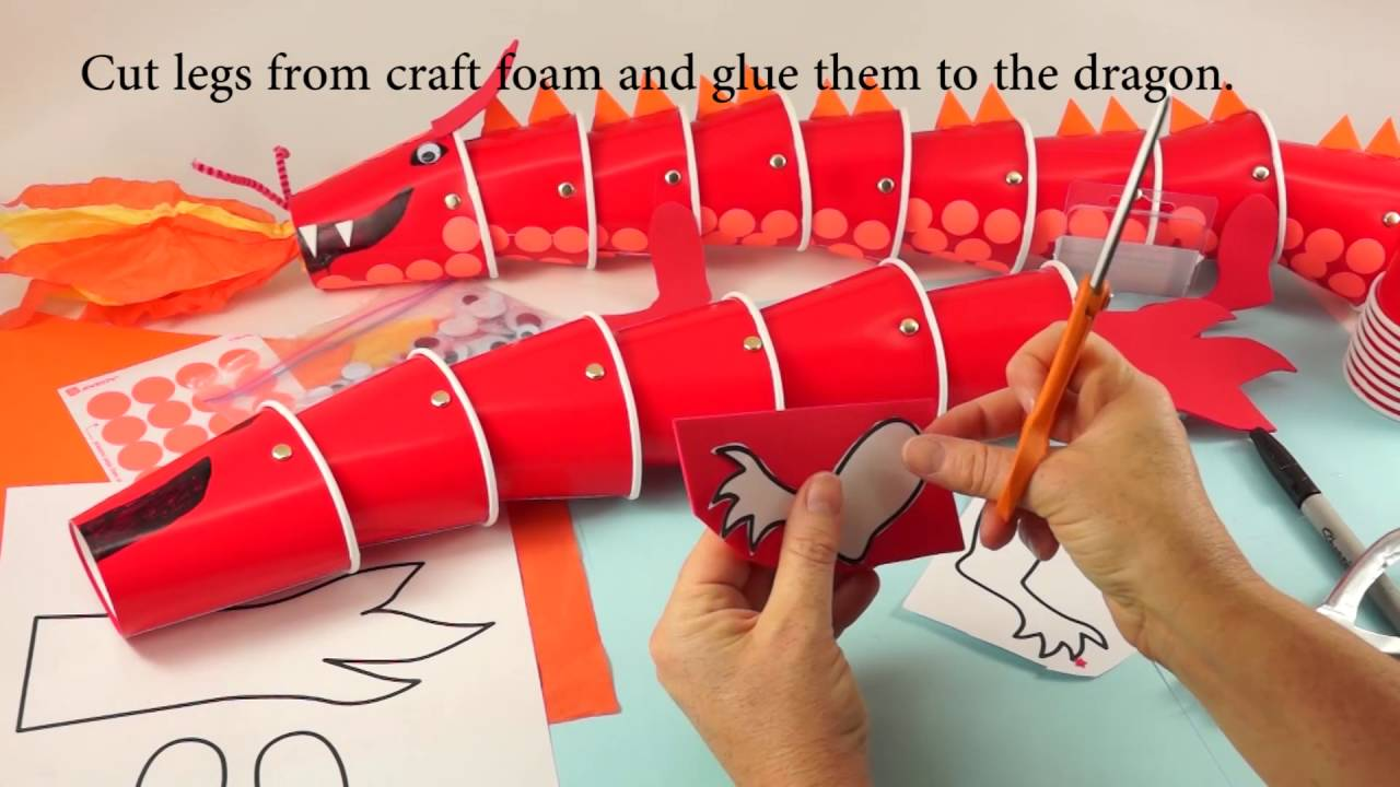 Dragon Cup Puppet Craft Youtube