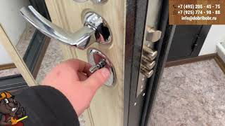 Входная дверь GROFF P2 206 П 25 Беленый Дуб с зеркалом BRAVO