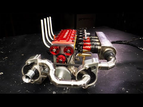 Twin Supercharged 4 Cylinder Nitro RC Engine
