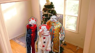 Scary Clown Breaks in our House and Destroys Christmas Tree! Three Clowns!