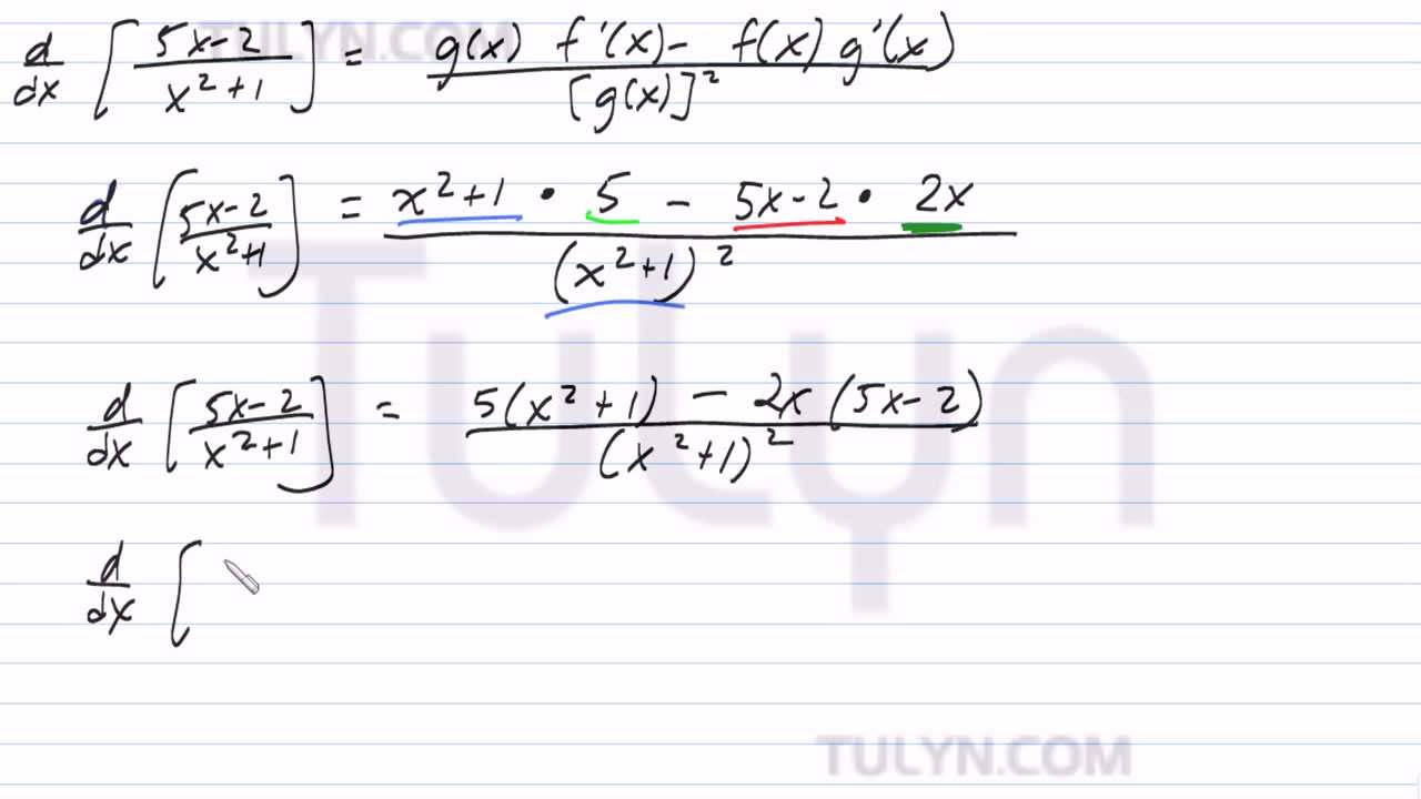 Using the Quotient Rule to Find the Derivative of an Algebraic ...