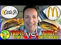 Carl's Jr.® | Triple Slider VS McDonald's® | Triple Cheeseburger! 🍔🆚🍔