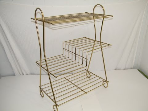 VINTAGE 1960'S BRASS GOLD 3 TIER MAGAZINE RECORD NEWSPAPER RACK