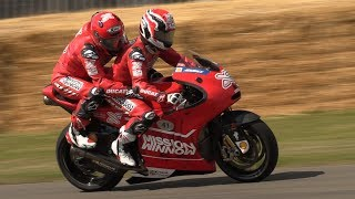 Ducati Desmosedici MotoGP two-seat at Goodwood FOS! - V4 Engine Pure Sound!