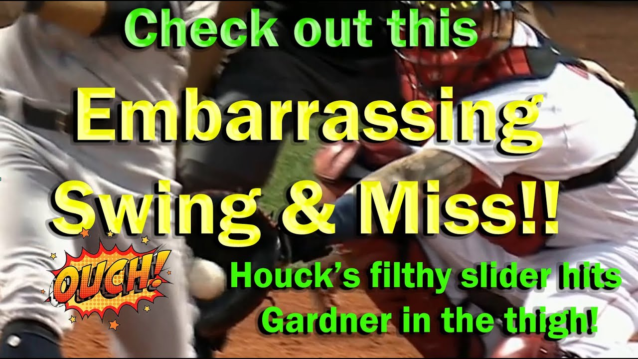 EMBARRASSING Swing & Miss!!  Houck's Ridiculous Slider hits Gardner in the Thigh!   #shorts