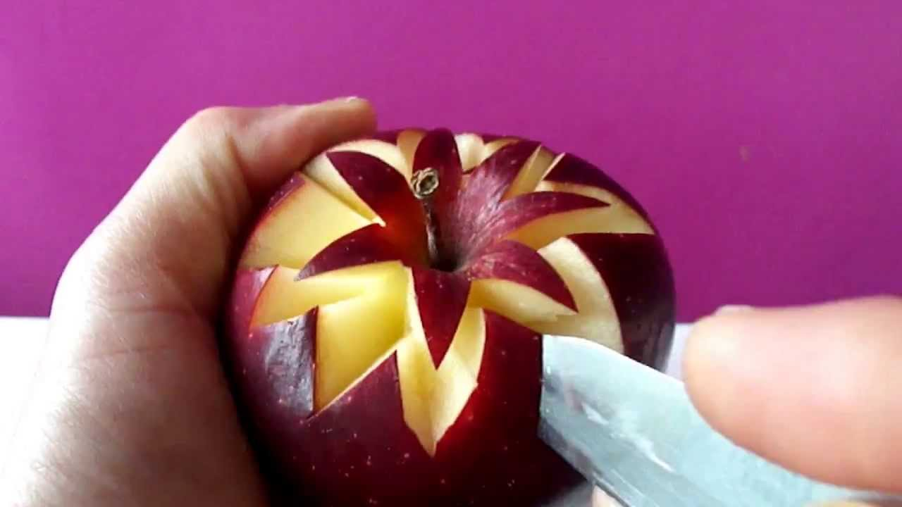 Fruits and vegetables carving designs - Art In Apples Show Fruit Carving Apple Secret Lucky Star Garnish Youtube