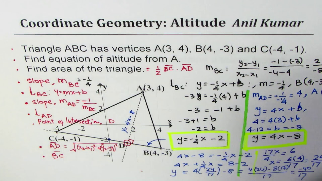 Find equation of altitude and then area of scalene triangle youtube find equation of altitude and then area of scalene triangle ccuart Image collections