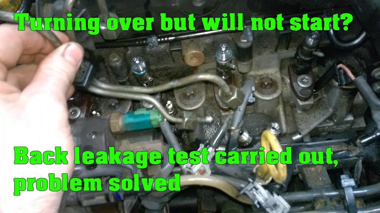 Cranks but won't start on a mon rail diesel engine  Injector back leakage test  YouTube