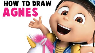 How to Draw Agnes The Adorable Little Girl From Despicable Me.
