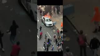 Protest Gone Wild. Apple Store And Police Car Destroyed And Robbed In USA May 31st 2020