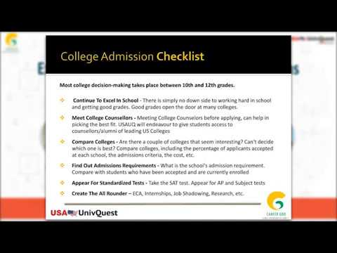 Admission in US Colleges - College Application Checklist for International Students (Part 2)