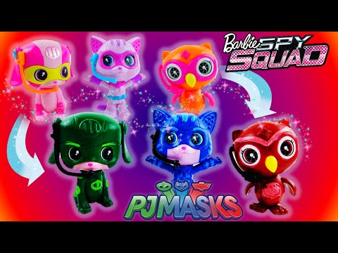 PJ Masks Toys Transformation from Barbie Spy Squad Pets - Cat Boy Owlette and Gekko Custom