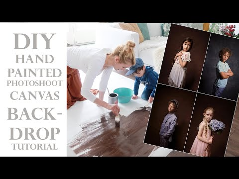 DIY hand painted canvas PHOTO SHOOT BACKDROP (tutorial) - CAMERA SETTINGS & Behind the scenes