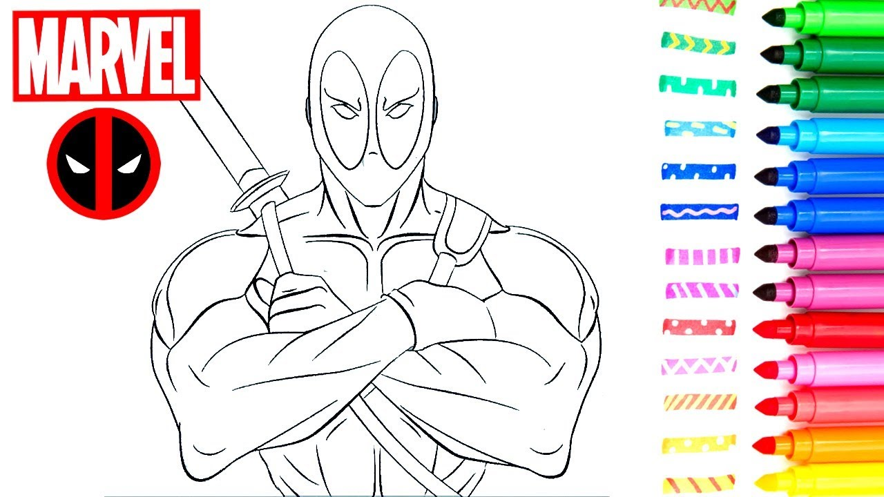 Rotuladores De Superhéroes Marvel Deadpool Thor Y Hulk Dibujos Para Colorear