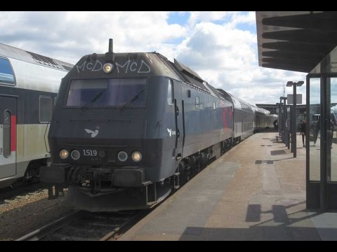 Denmark:  DSB ME class diesel locomotive departs Holbaek on an Osterport to Kalundborg service