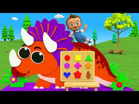 Learn Colors & Shapes for Children with Little Baby Fun Play Triceratops Dinosaur Shapes 3D Toy Kids