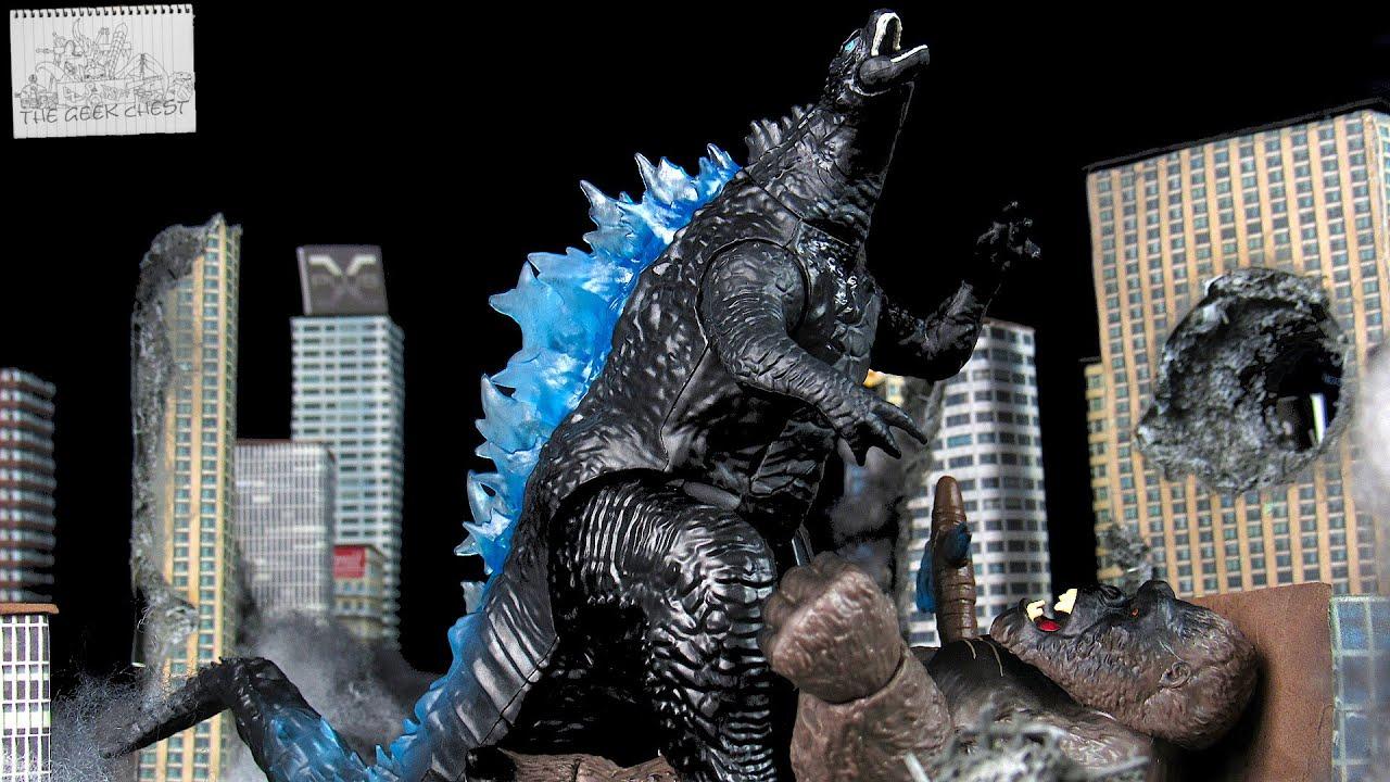 Playmates Godzilla VS Kong Super Charged Godzilla With Fighter Jet - Legendary Kaiju Figure Review