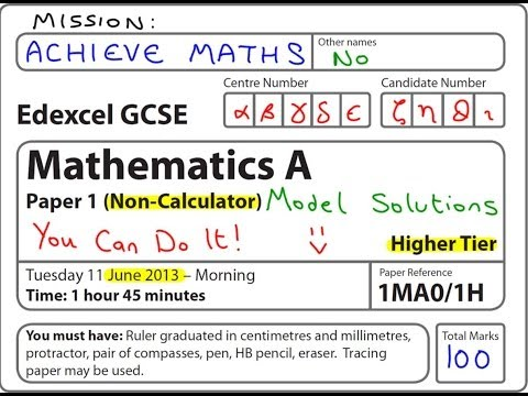 GCSE Maths Edexcel June 2013 1H Higher Non-Calculator (complete paper)