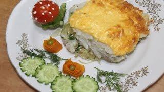 Запеченное рыбное филе с рисом и сыром в духовке
