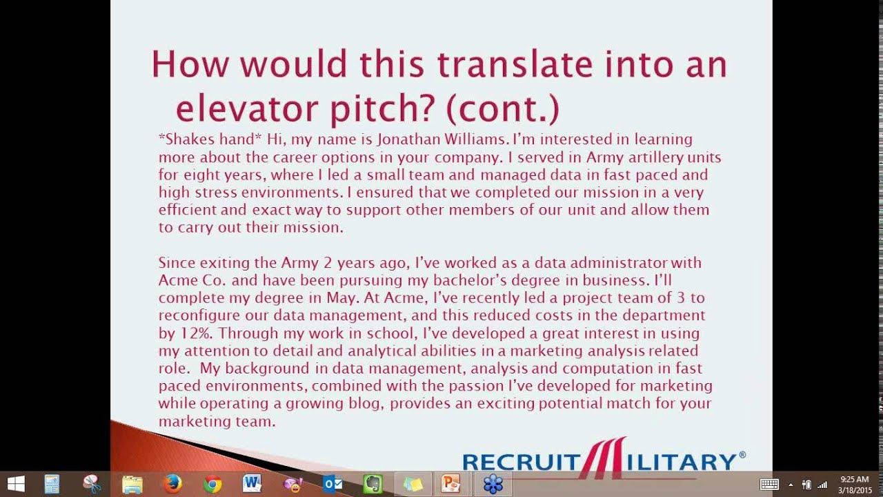 how to craft an effective elevator pitch as military