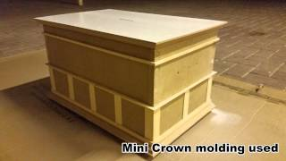 Wooden Coin Box Project With A Chair Rail Design And Crown Molding Around It. Diy Woodwork Art.