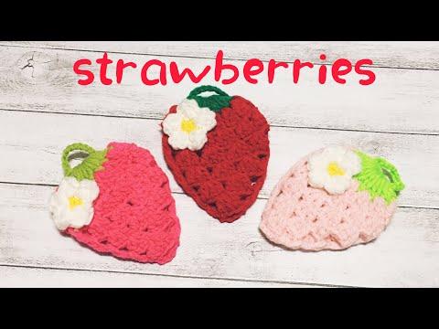 [かぎ針編み]いちごのエコたわしの編み方☆crochet strawberry dishwashing scrubber☆