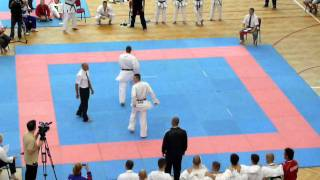 Mens Team Kumite Final GBR - Sonny Roberts (SHIRO) v Serbia (AKA) Final Fight off 2