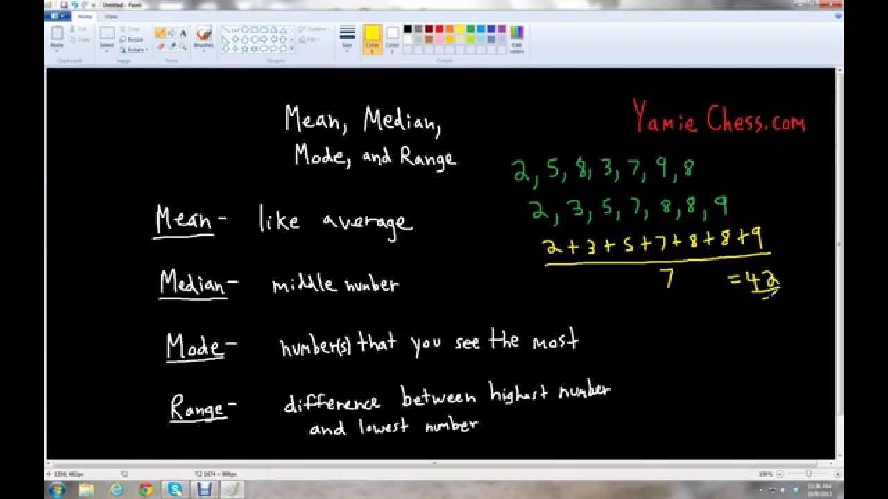 Mean Median Mode Range (grade 5)