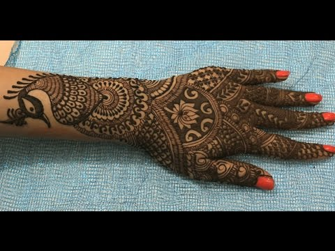 Indian Pakistani Wedding Henna Mehendi:Full Hands Bridal Artistic Peacock Mehndi(Intricate Pattern)