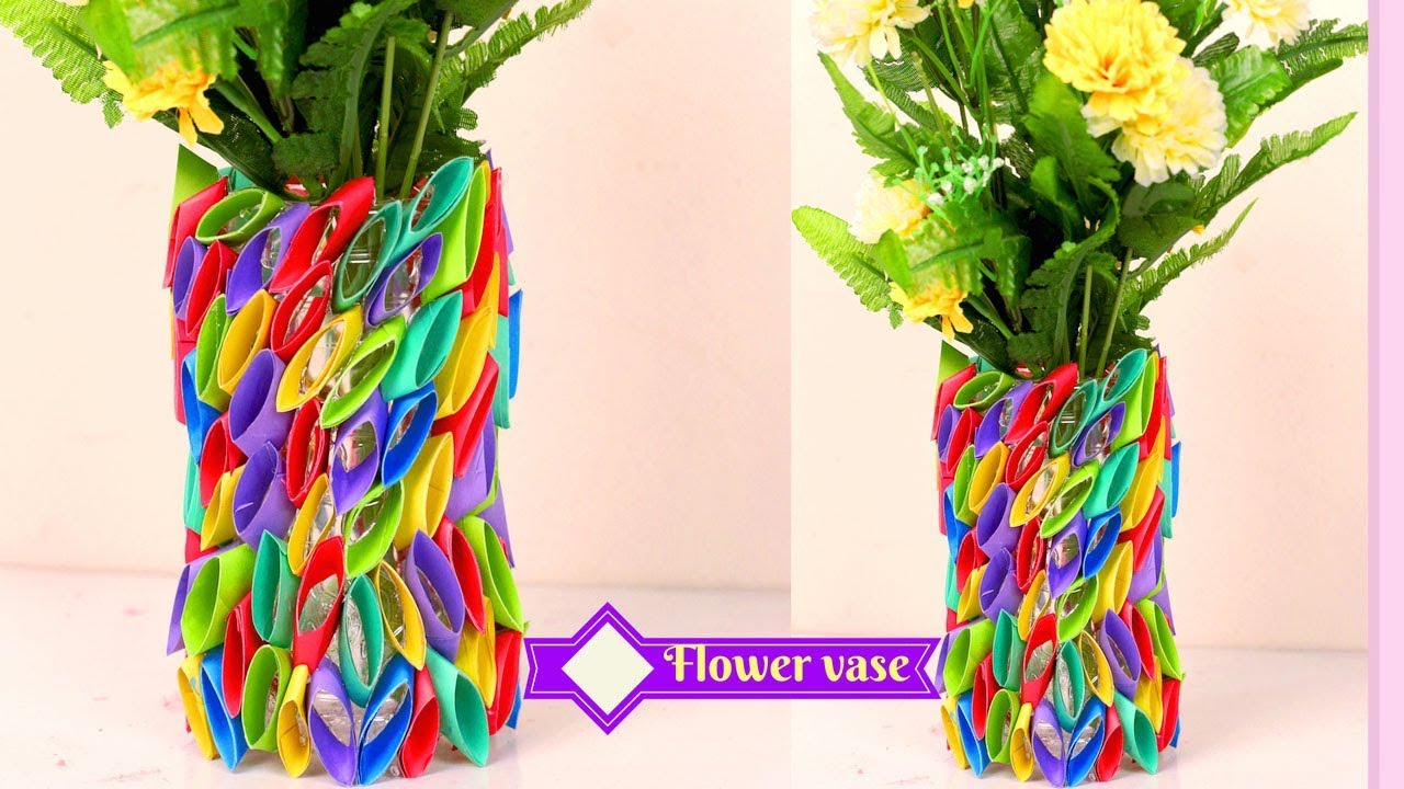 flower vase made from paper and plastic bottle  paper