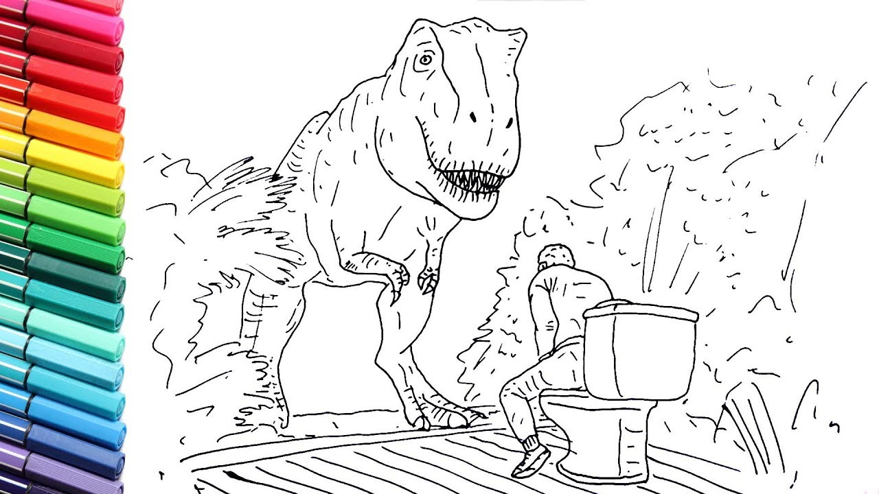How To Draw The T Rex Vs Toilet Drawing Scene From