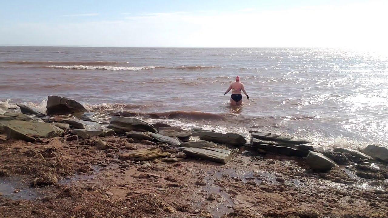 Chilly swim, Baie Verte wind & waves