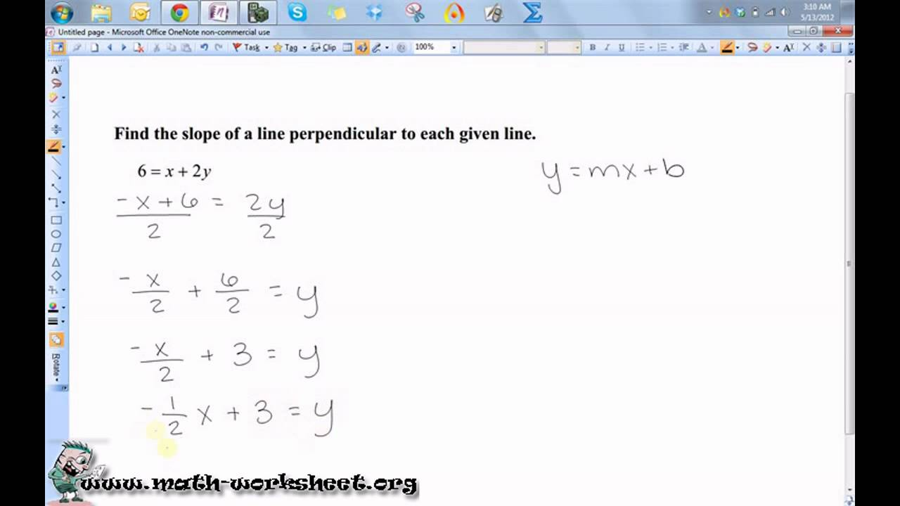 Slope and lines Worksheets on