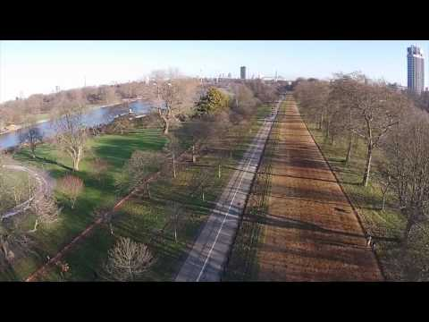 Hyde Park, A Royal Park in Central London. Drone.