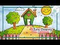 Cute cartoon house & scenery drawing easy step by step tutorial for kids