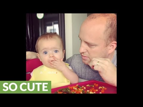 Baby refuses to let dad eat her vegetables