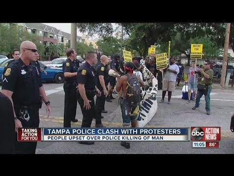 Tampa Police clash with protesters