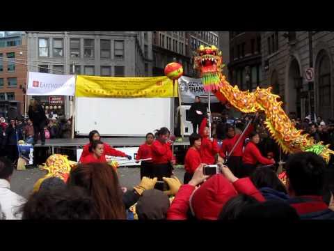 Chinese New Year Dragon Dance in Chinatown Boston